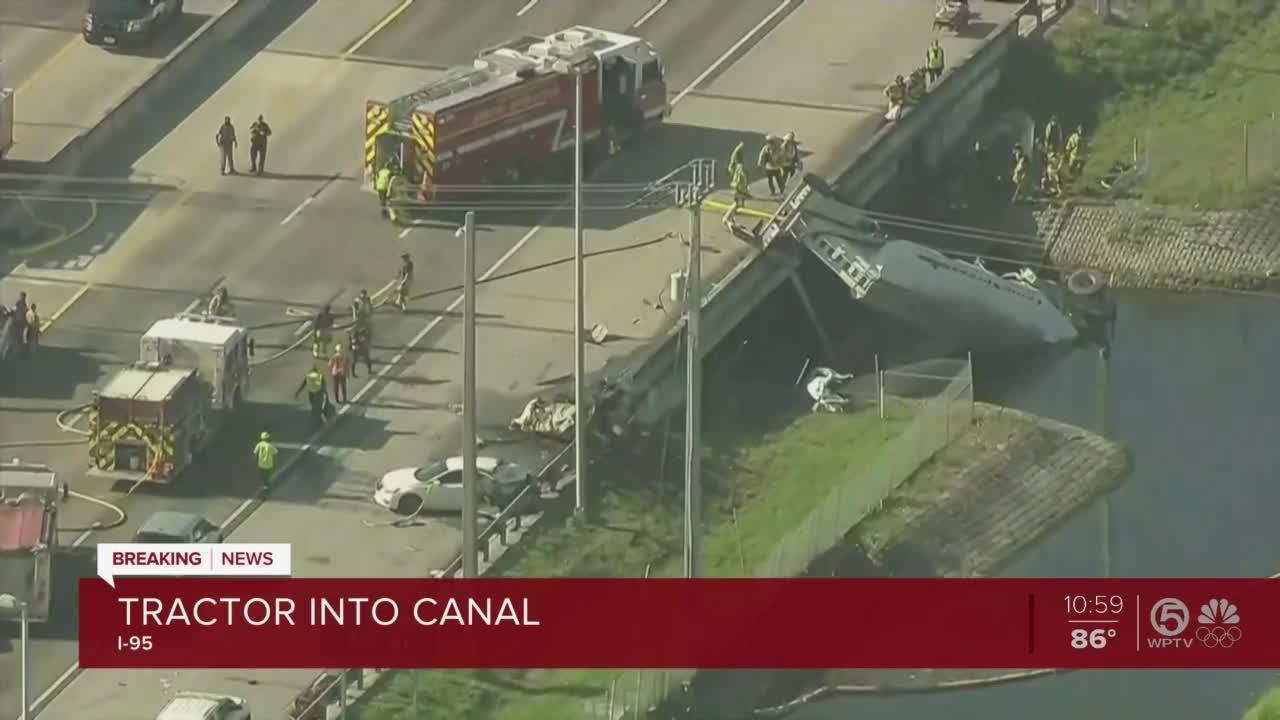 Fatal semi-truck crash into canal closing lanes on Florida's Turnpike in west Boynton Beach