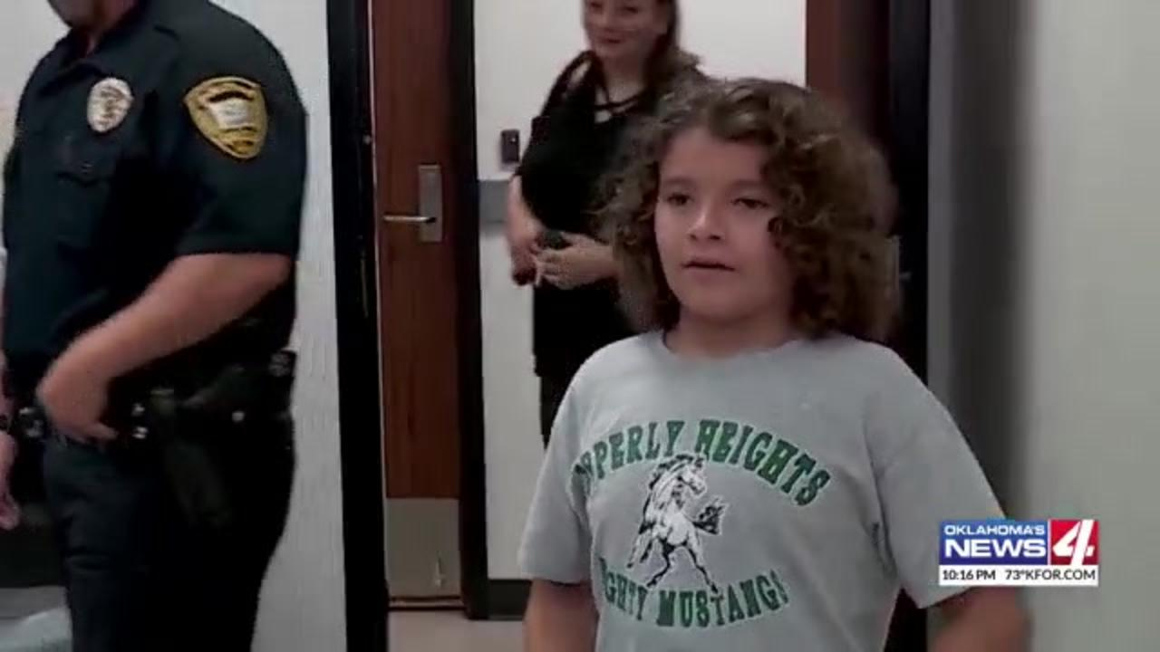 Oklahoma boy who used summer savings to buy cookies for officers gets cookie party of his own