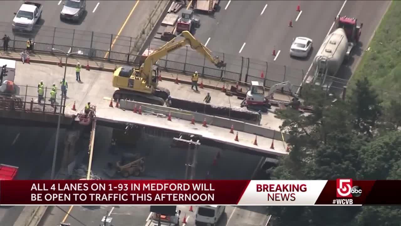 Repair work continues on overpass after bridge strike in Medford