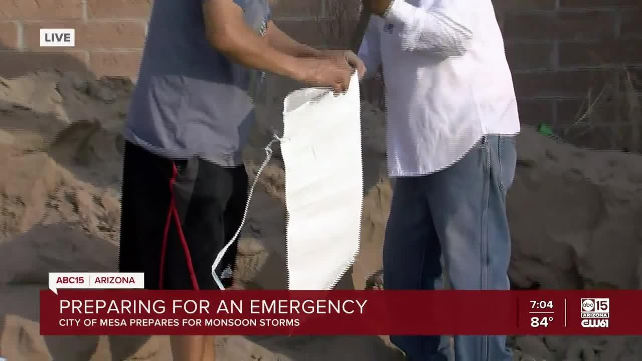 Preparing for flood waters with sandbags