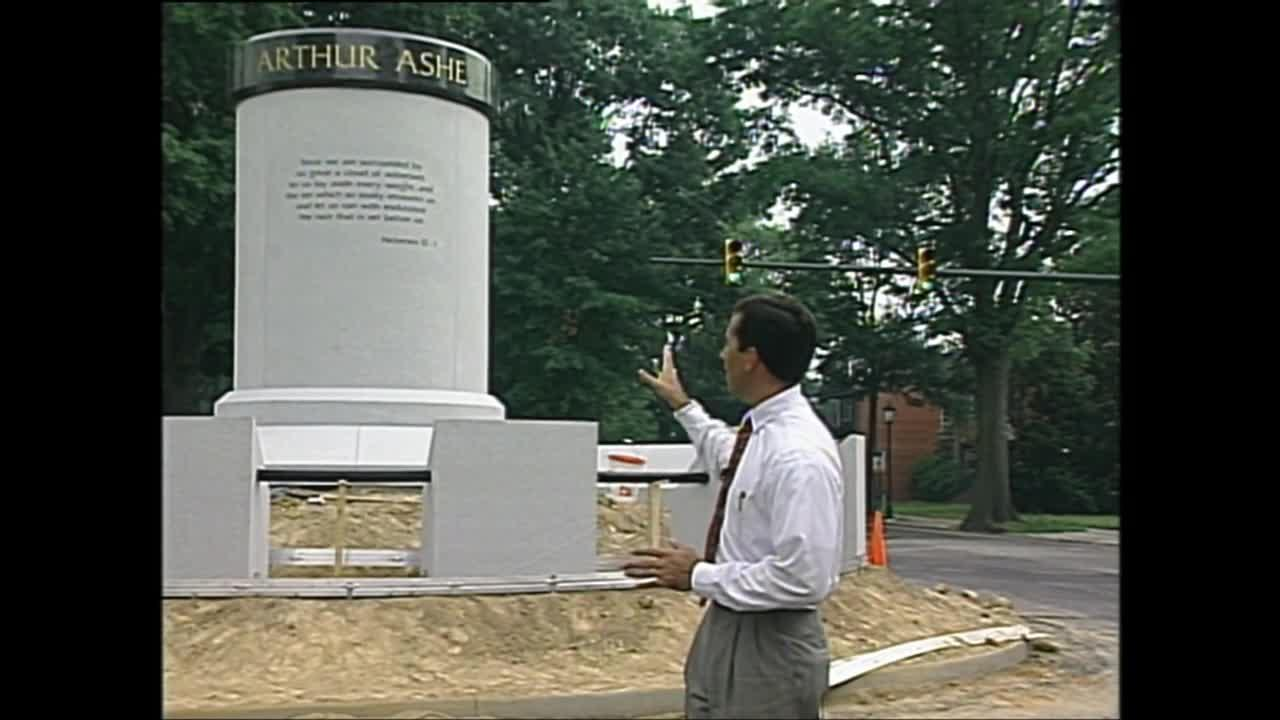 Finishing touches put up around Arthur Ashe statue on Monument Avenue in Richmond, Virginia