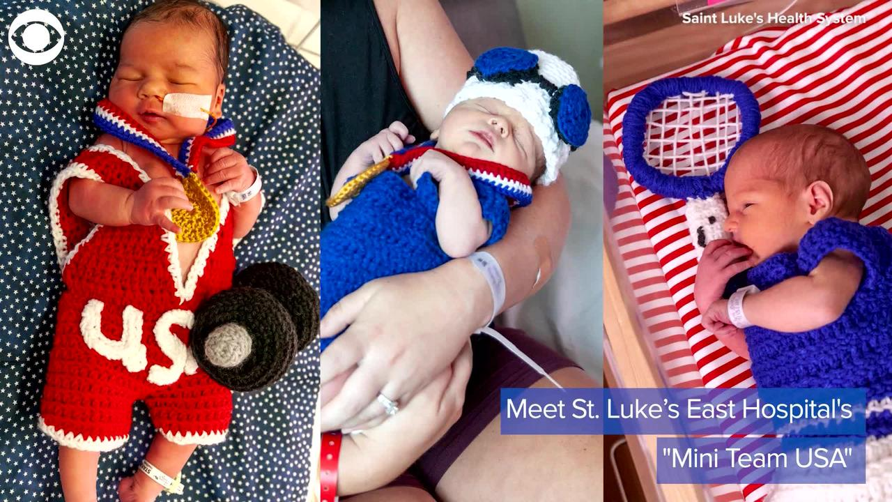 WEB EXTRA: Hospital Dresses Newborns in Olympics-Themed Outfits