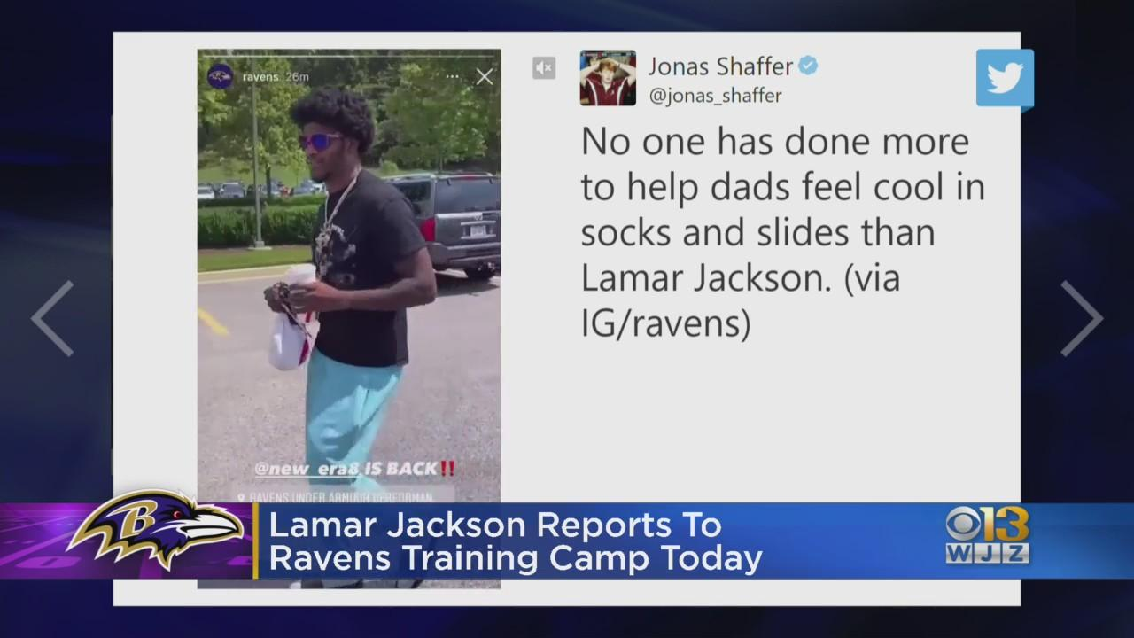 Lamar Jackson Arrives At Ravens Training Camp