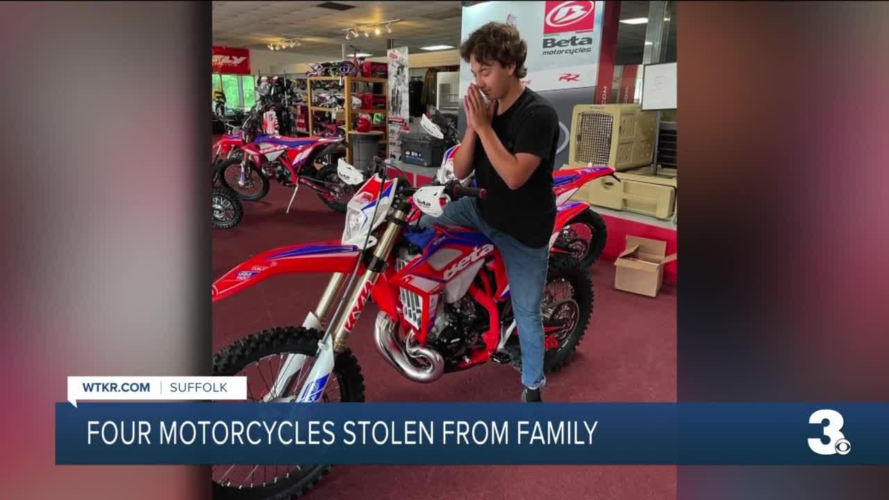 Suffolk family offers reward to find four motorcycles stolen from garage