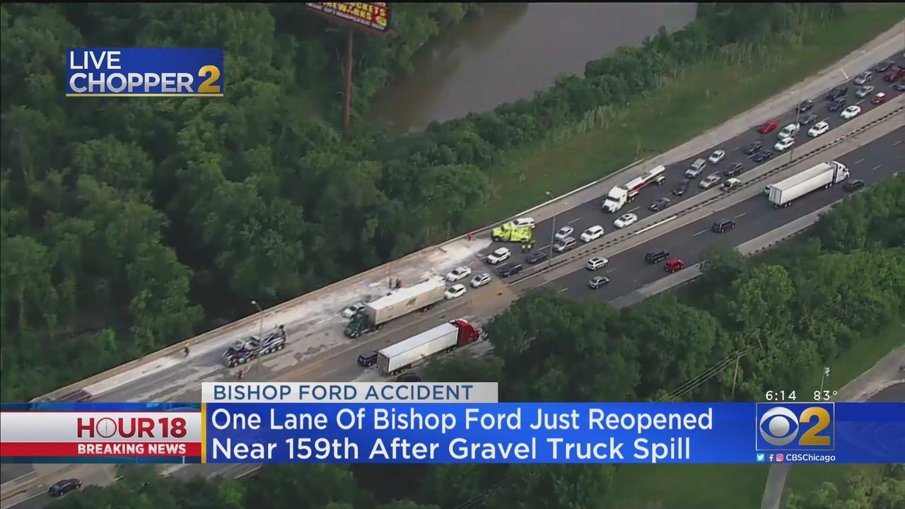 Truck Spills Gravel On Bishop Ford Freeway Near 159th Street