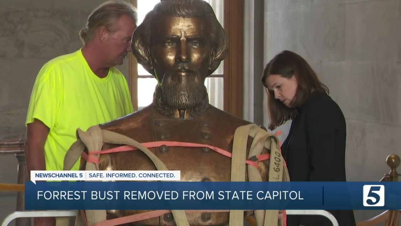 Crews remove Nathan Bedford Forrest bust from Capitol