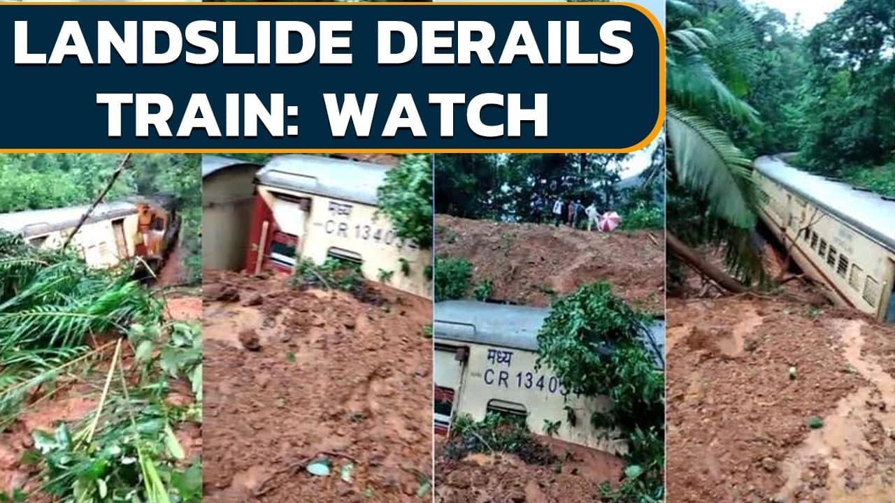 Goa: Passenger train derails after landslide hits: Watch   Oneindia News