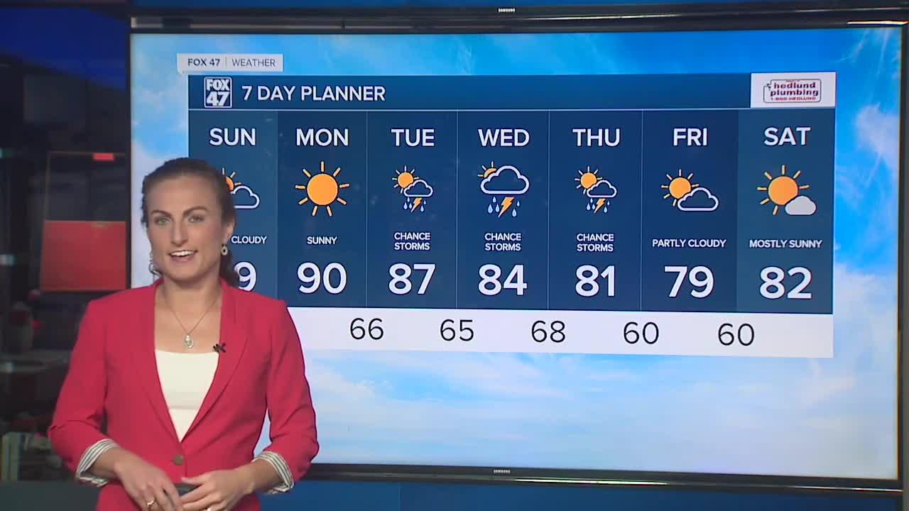 Sunday's Forecast: Mostly sunny and humid with highs near 90