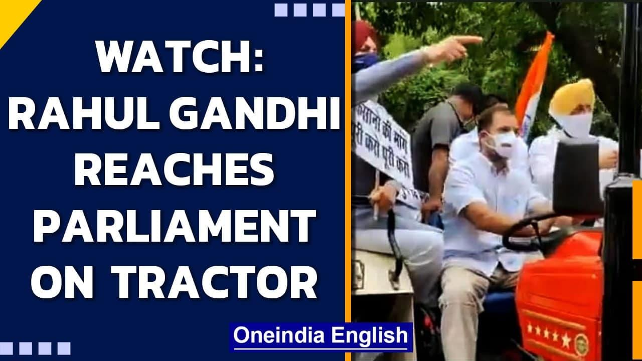 Rahul Gandhi rides to Parliament on tractor with 'farmers message' | Farmers protest | Oneindia News