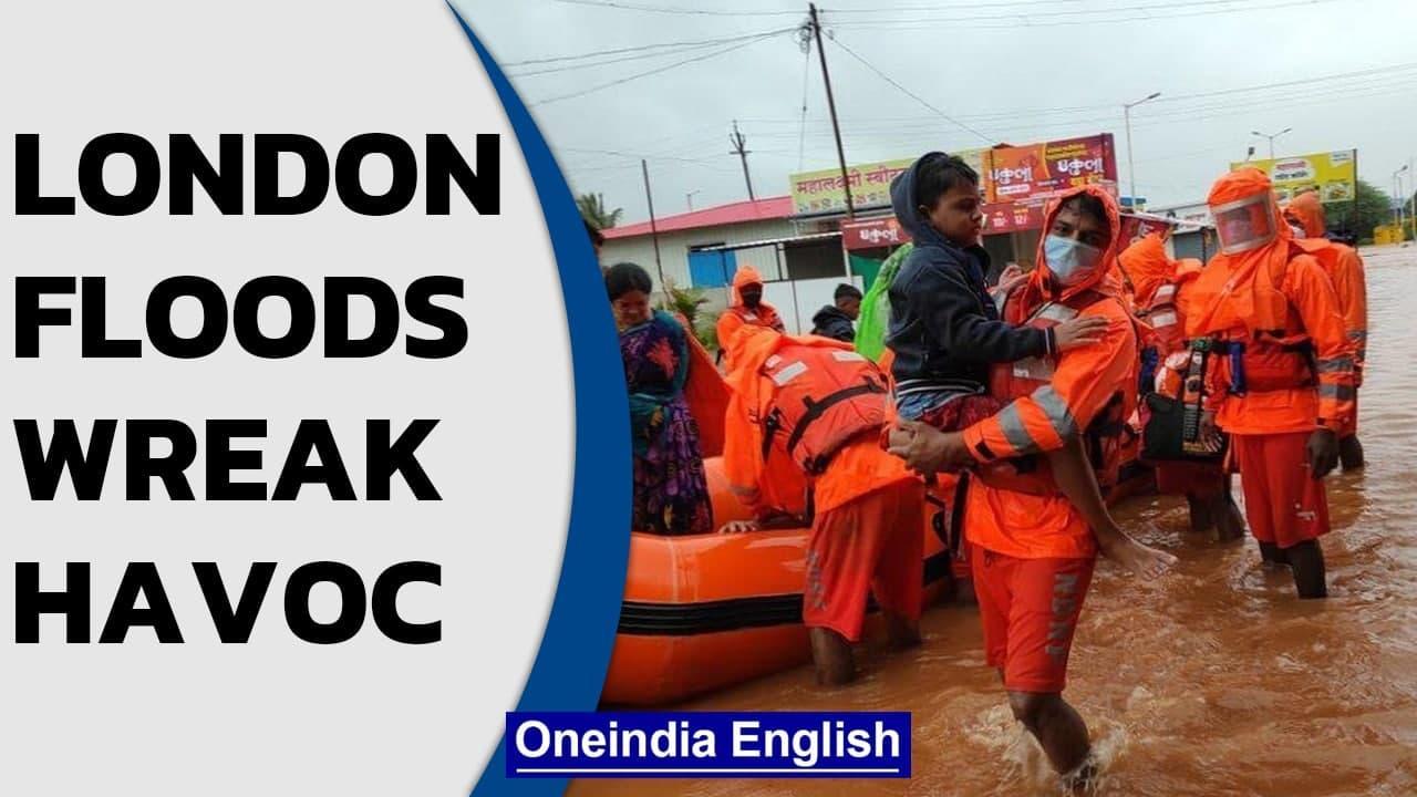 London floods inundate subways & roads, rescue boats evacuate passengers | Oneindia News