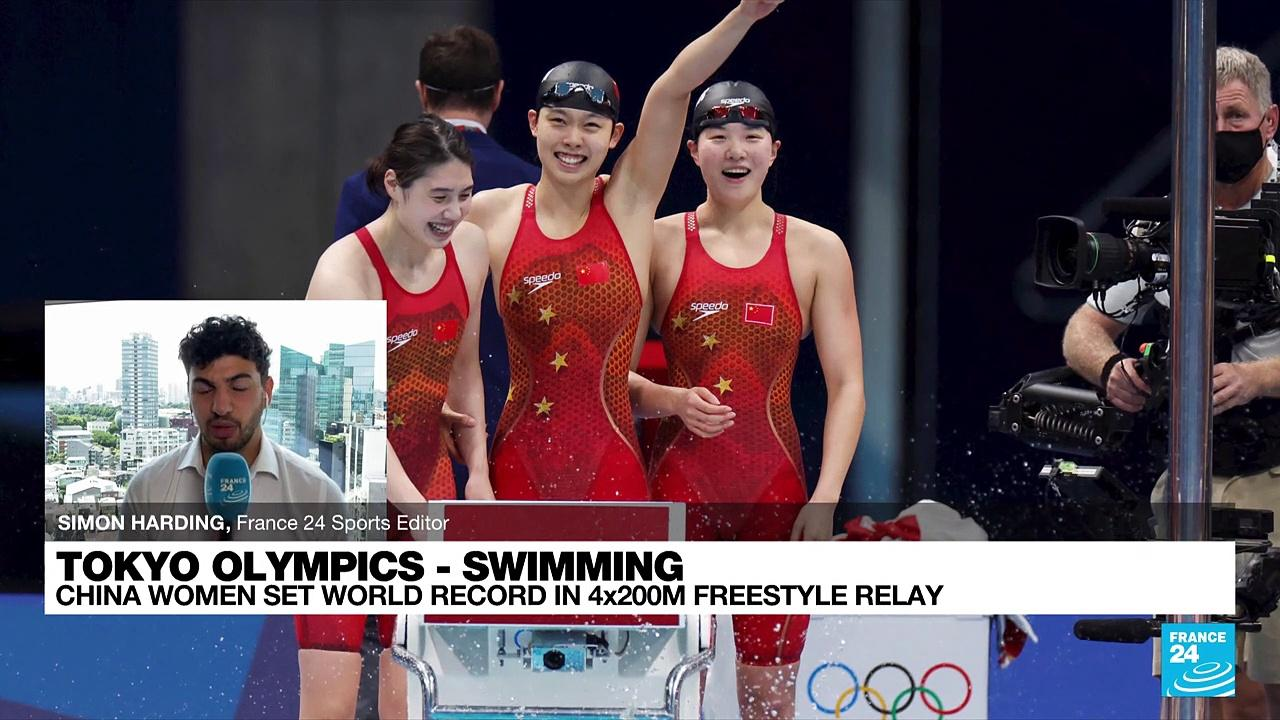 China win women's Olympic 4x200m freestyle in world record time