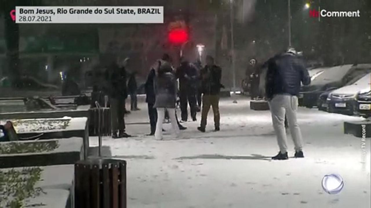 Rare snowfall in Brazil after Southern cold snap