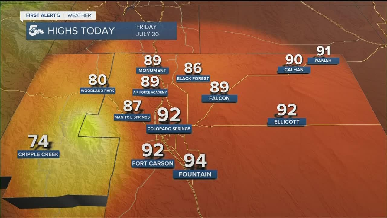 Friday will be hot and dry, but a cold front will arrive in the evening