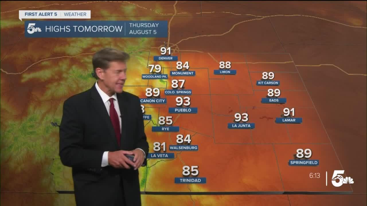 Isolated afternoon storms in the plains with a hot & dry end to the week!