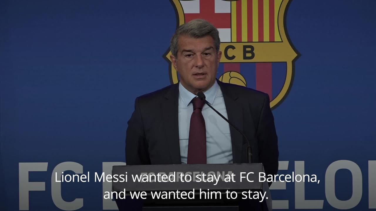 Laporta says keeping Messi put Barcelona future at risk