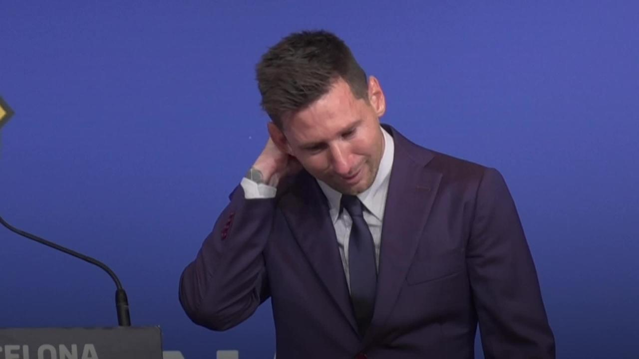 Tearful Lionel Messi says goodbye to Barcelona