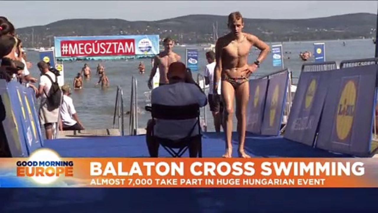 Hungary: Thousands swim across largest lake in central Europe
