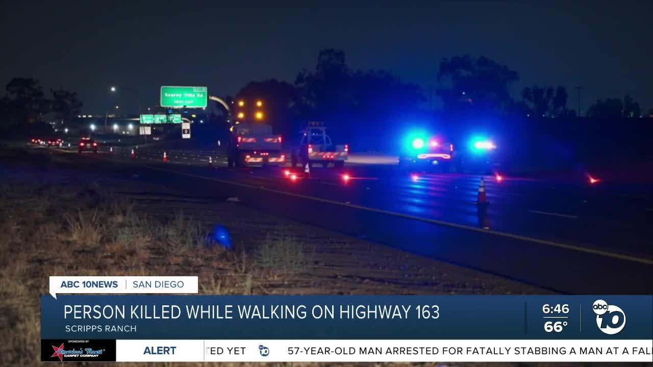 Person walking on SR-163 hit by vehicle, killed