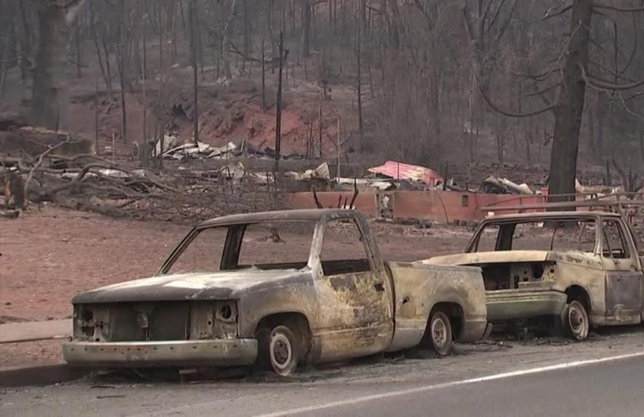 California wildfire razes U.S. town to ruins