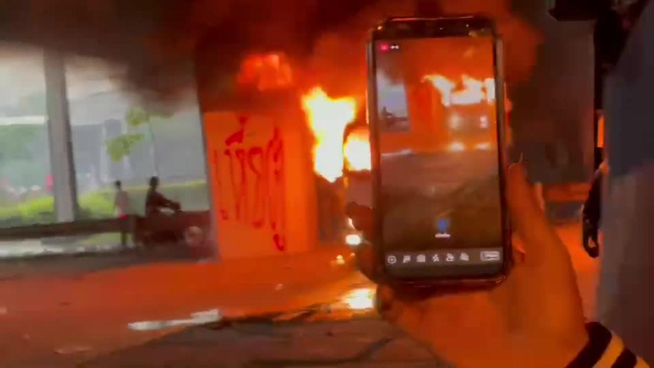 Thai police car on fire amid anti-government protests
