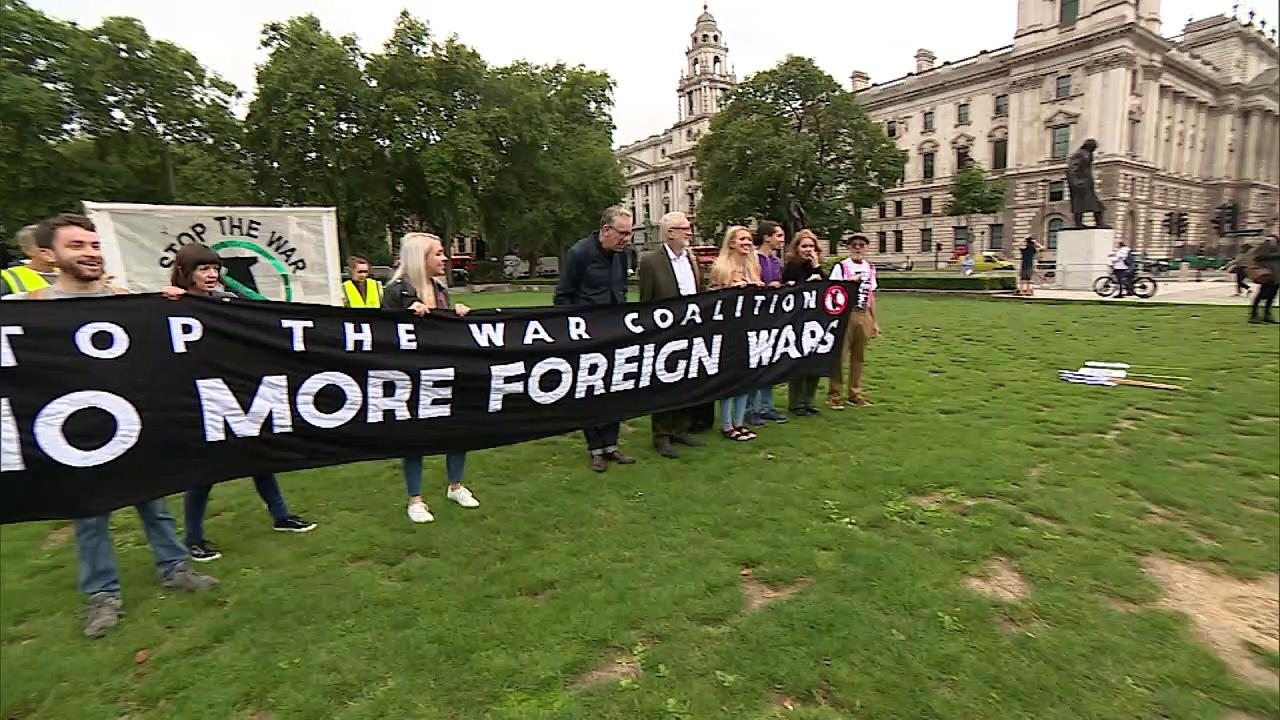 Corbyn speaks at Stop the War Coalition demo near Parliament