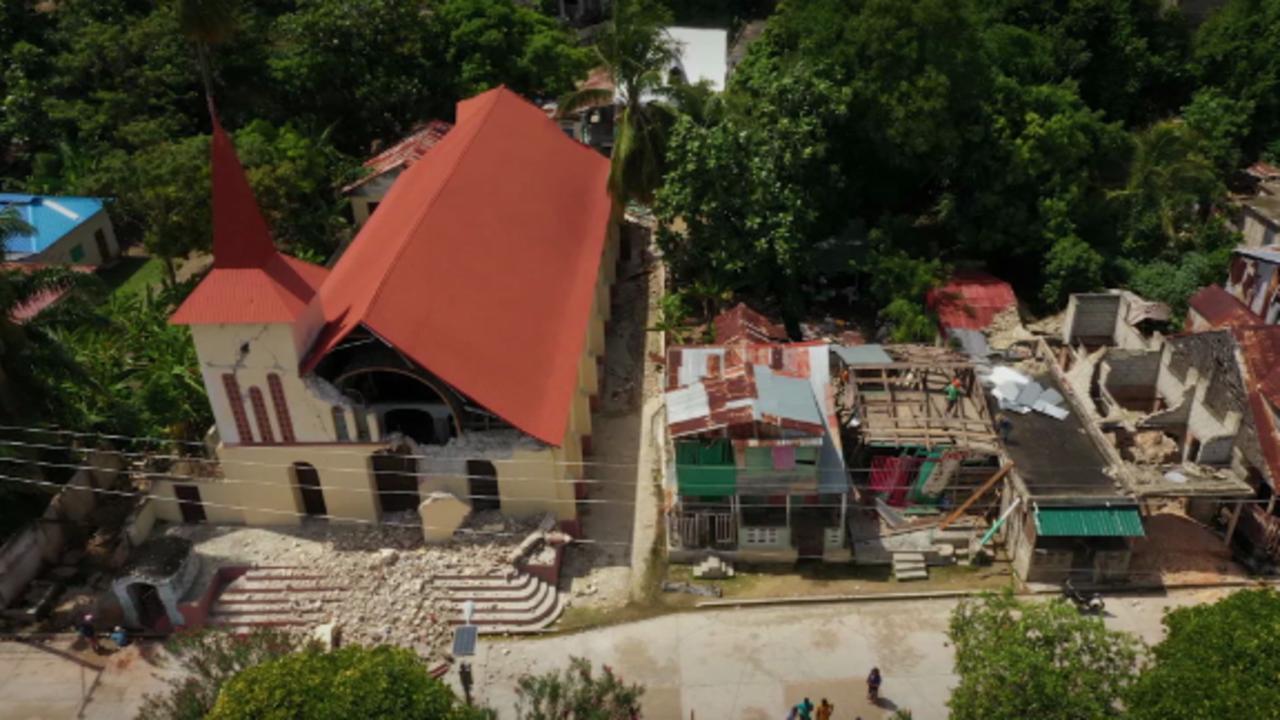 Drone footage shows damage near Haiti quake epicenter as death toll tops 2,100