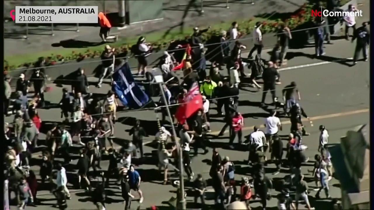 Hundreds of anti-lockdown protesters clashed with police in Melbourne on Saturday.