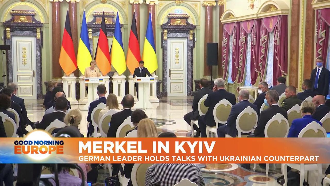 Angela Merkel urges high-level meeting on eastern Ukraine in 'farewell visit' to Kyiv