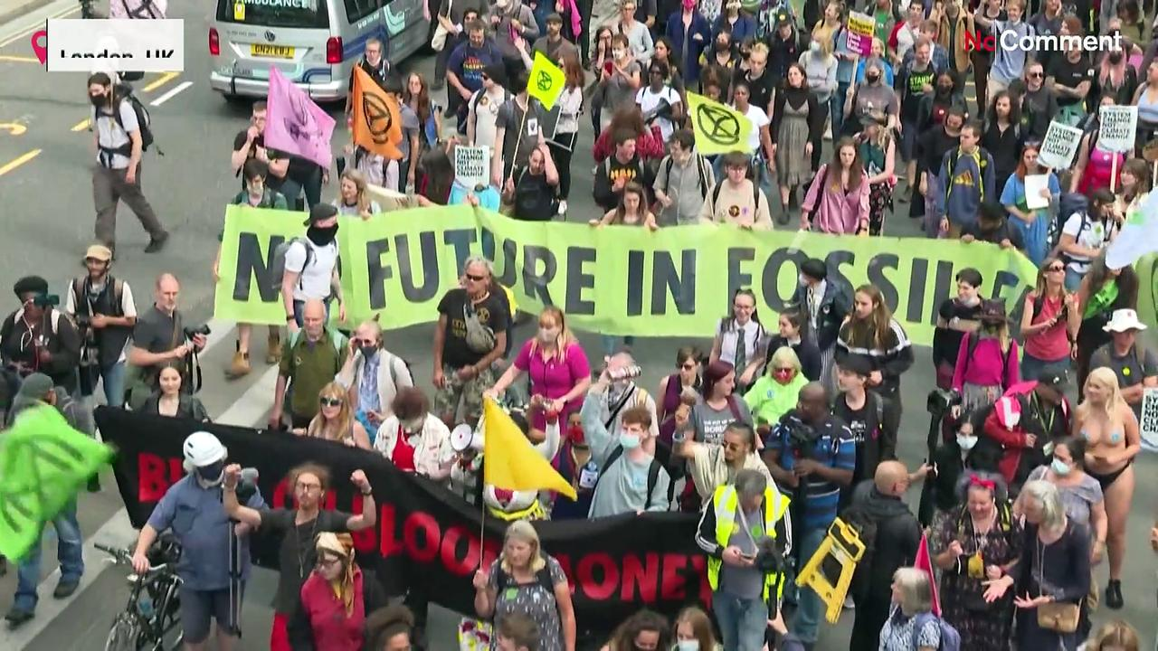 Extinction Rebellion protests in London's financial centre