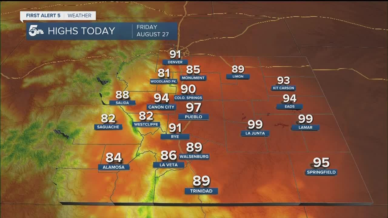 Hot and dry across the plains with a few spotty showers over the mountains