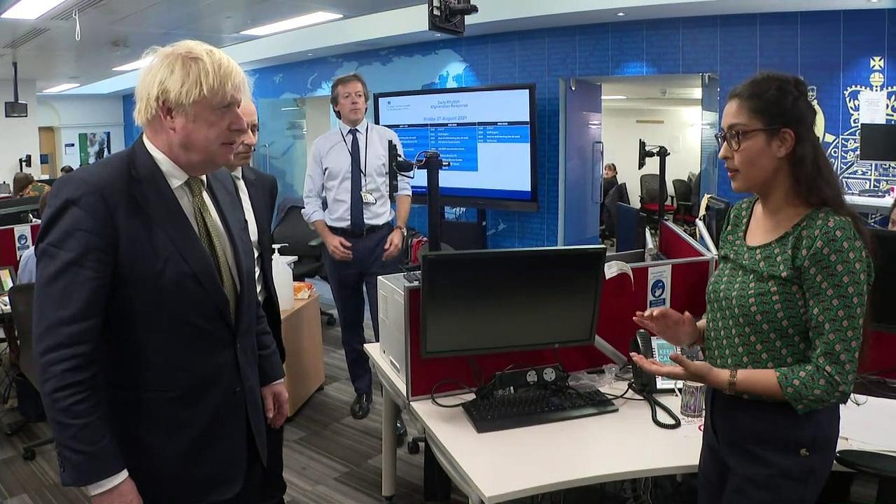 Boris Johnson and Dominic Raab visit Foreign Office