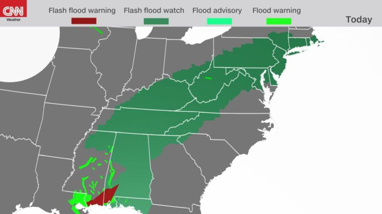 Ida brings flash flood watches to over 80 million people