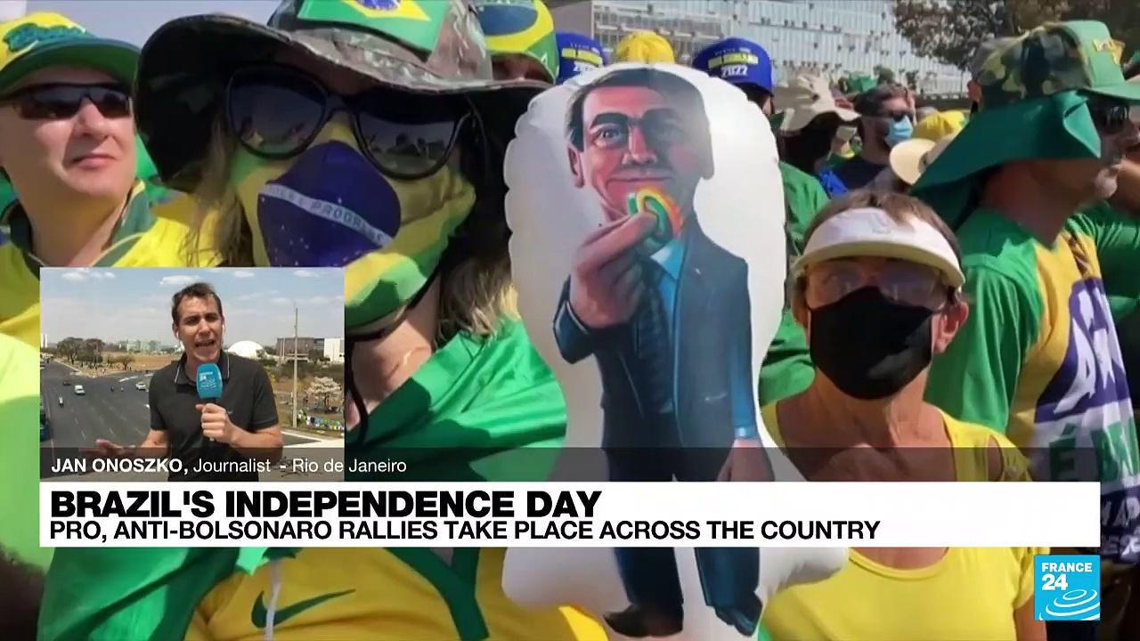Bolsonaro supporters march in Brasilia, held back from Supreme Court