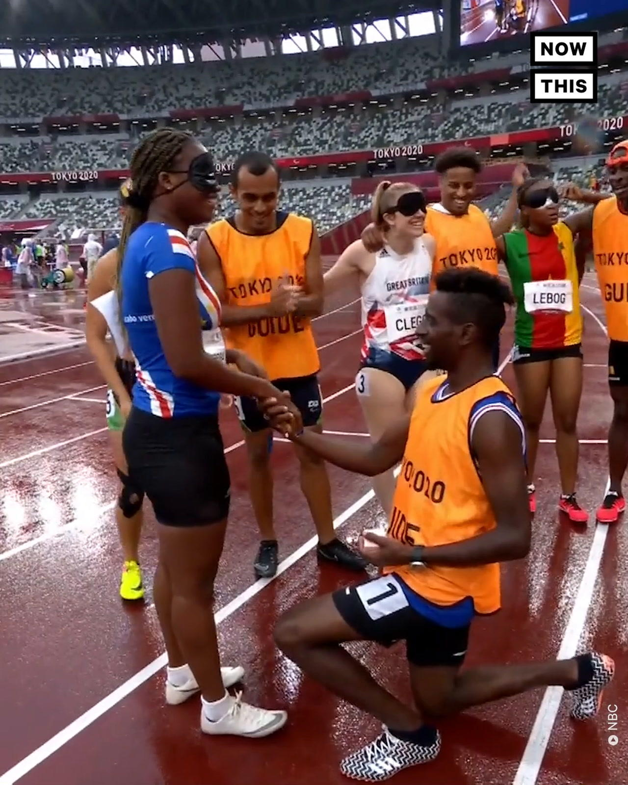 Guide Proposes to Paralympic Runner at Finish Line of Race