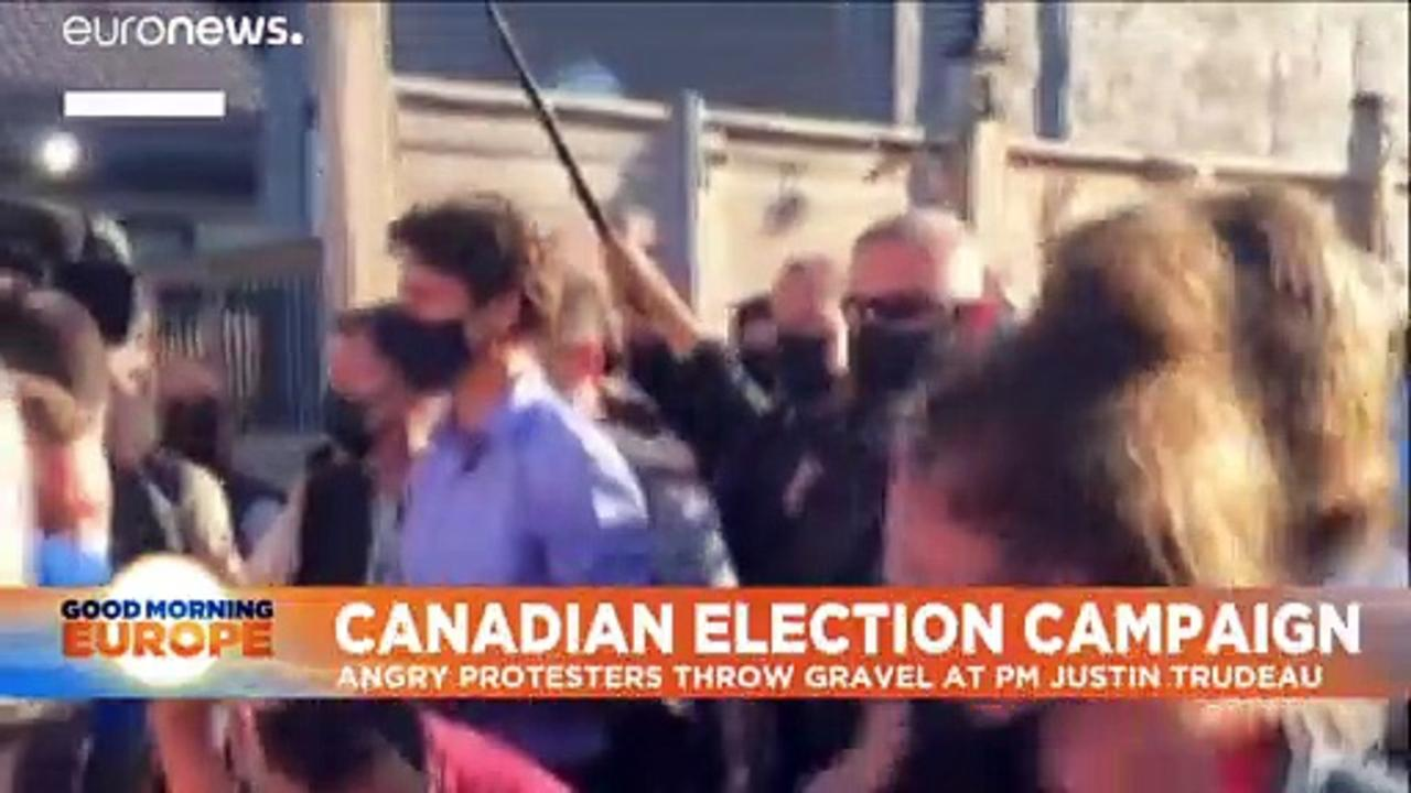 Angry protesters throw gravel at Canadian PM Justin Trudeau