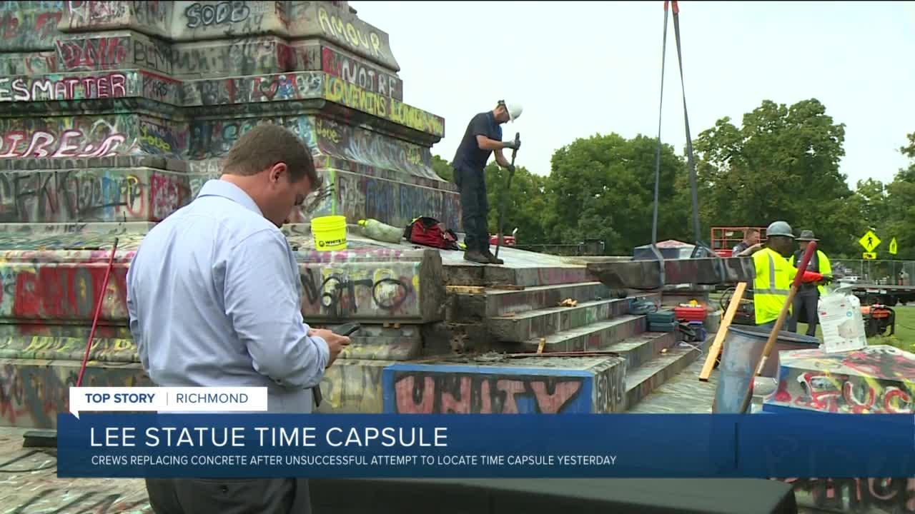 Lee statue base reassembled after failed time capsule search
