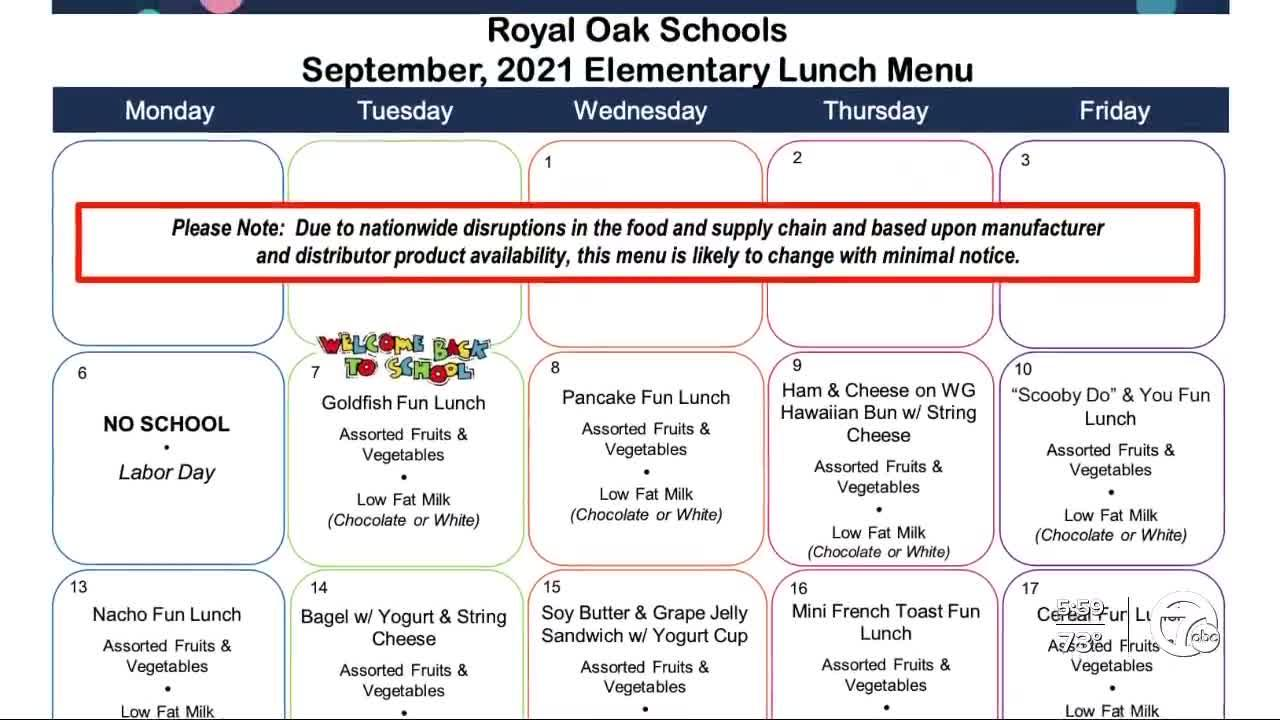 Royal Oak Public Schools taking heat from parents over lunch menu for elementary students