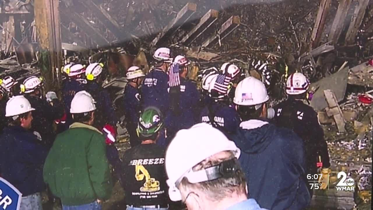 Baltimore County Firefighters in action at Ground Zero on 9/11