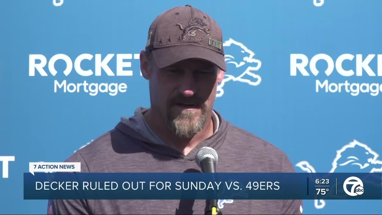 Lions tackle Taylor Decker ruled out vs. 49ers
