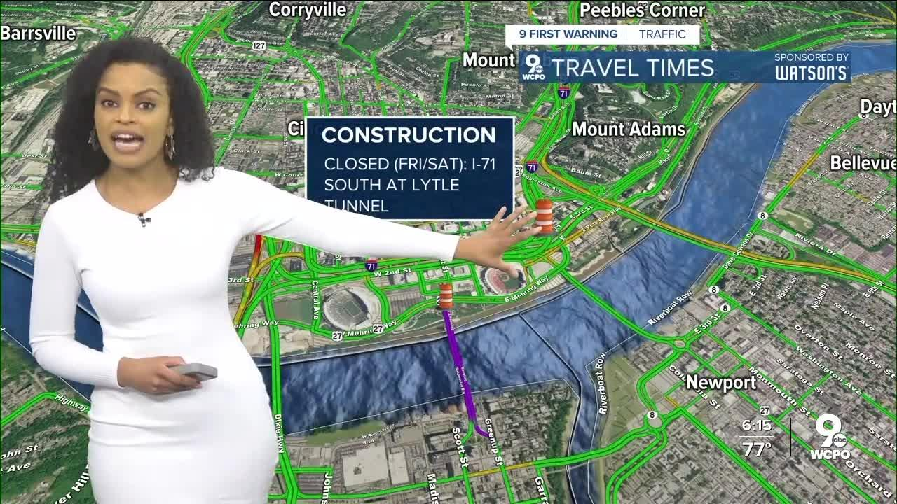 Lytle Tunnel closure begins Wednesday, continues through Friday night