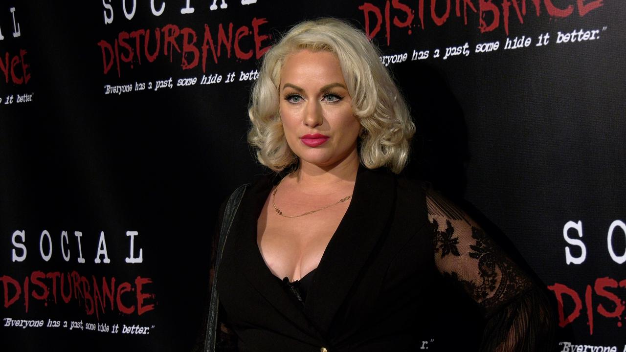 Actress Nadine Emrich attends the 'Social Disturbance' private screening red carpet in Los Angeles