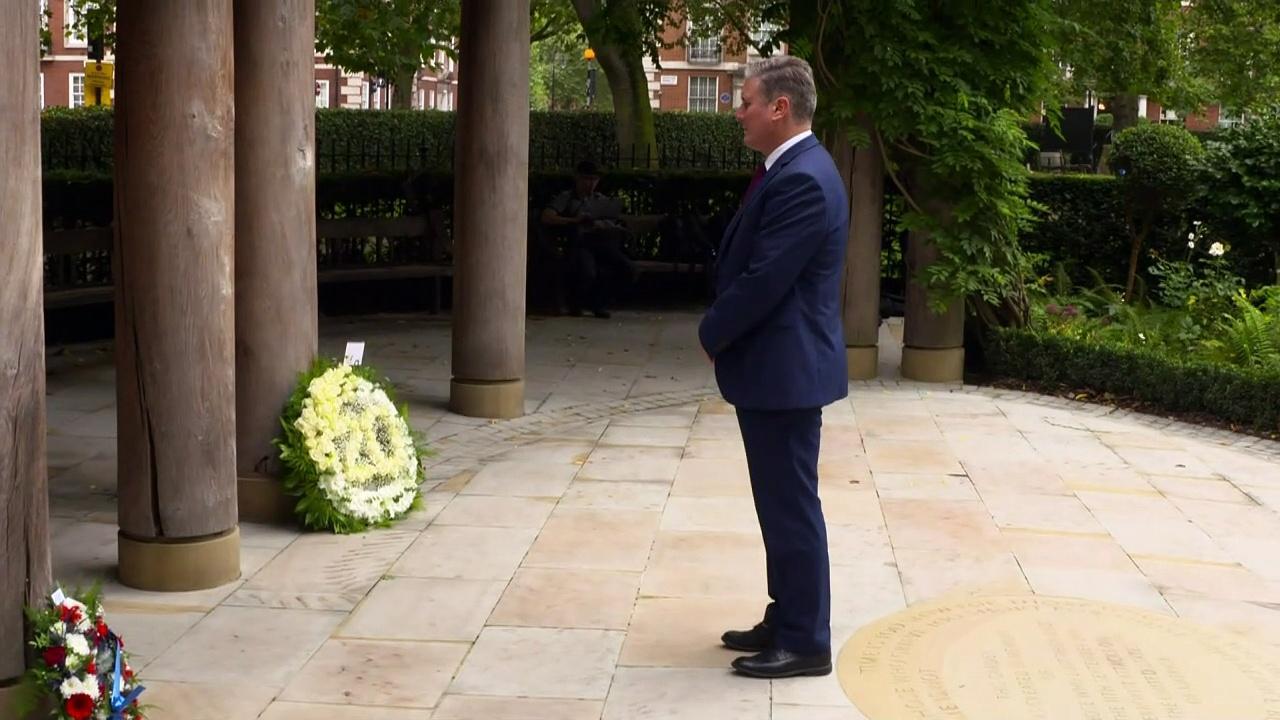 Sir Keir Starmer lays flowers at 9/11 memorial