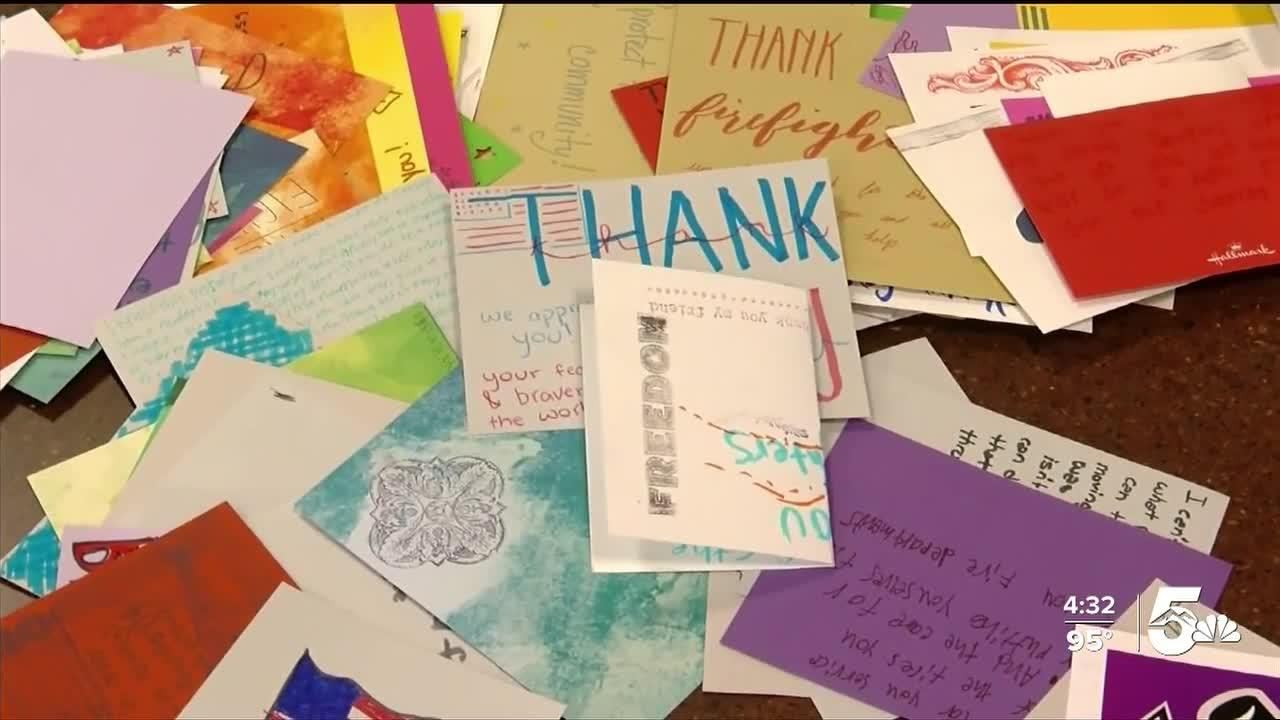 Local high school students write 'thank you' notes to first responders