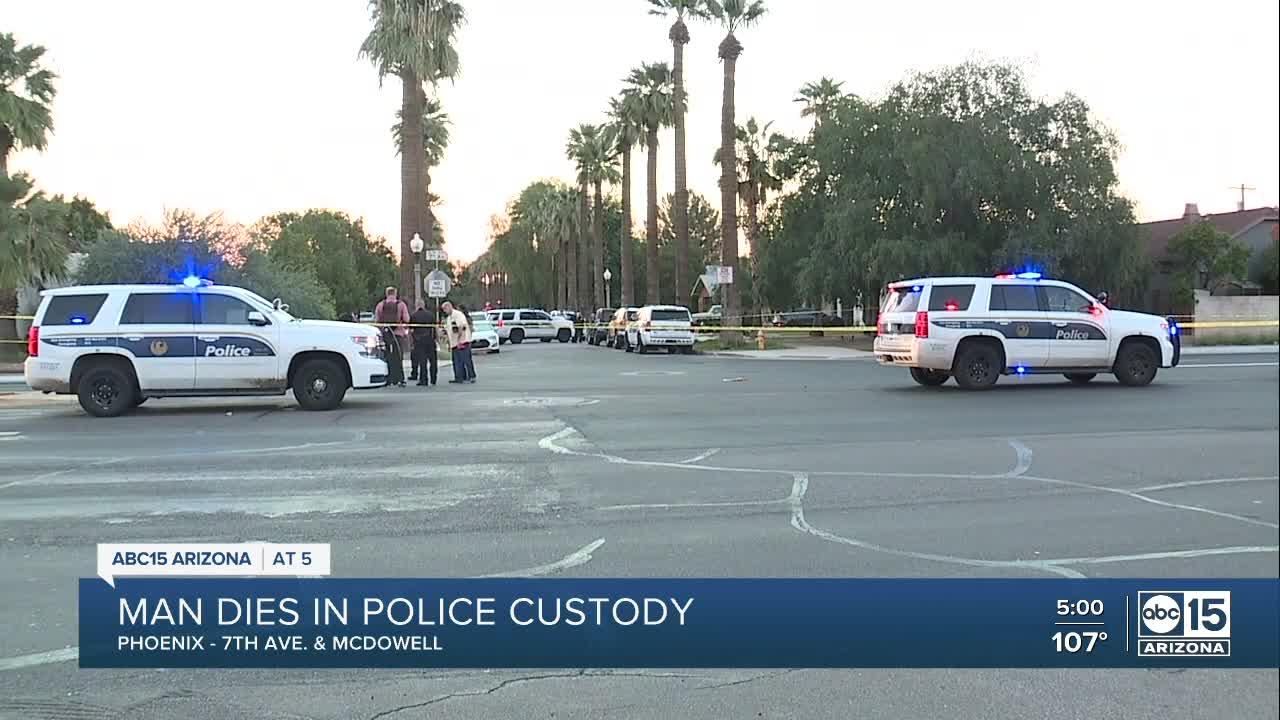 Man dies after being detained by officers near 7th Avenue and McDowell Road