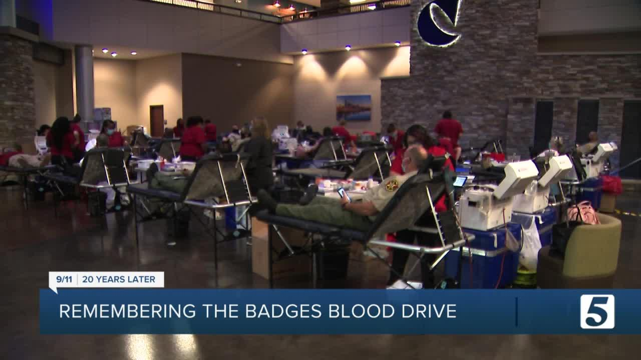 First responders give blood in 'Remembering the Badges' blood drive