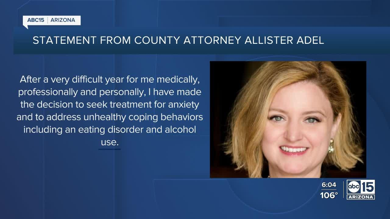 Maricopa County Attorney Allister Adel seeking treatment for alcohol use, eating disorder