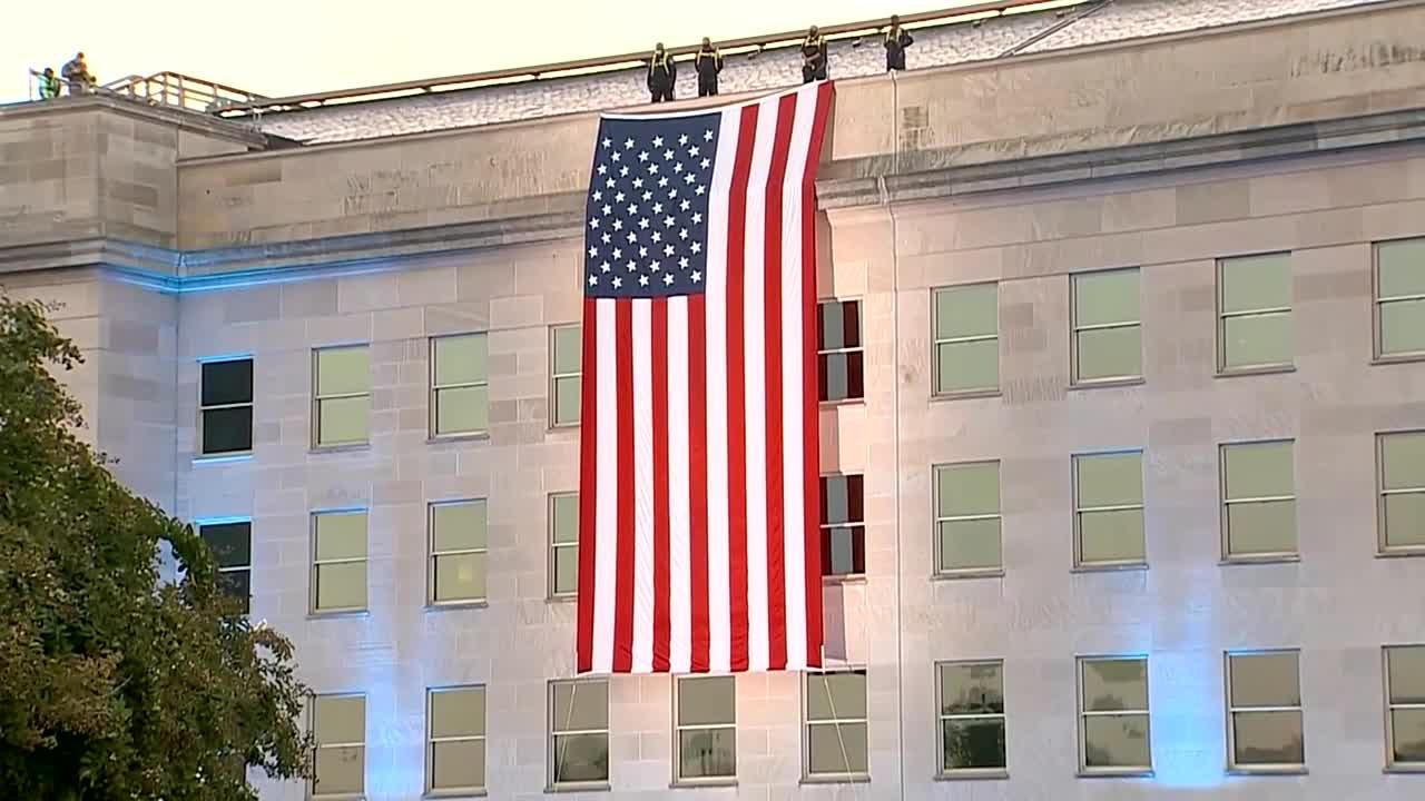 American flag unfurled Pentagon on 9/11