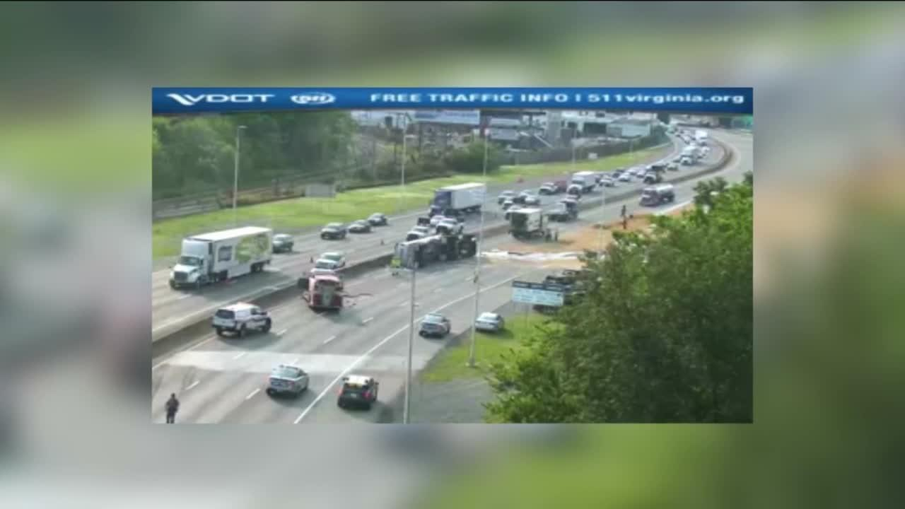 Tanker truck spills thousands of gallons of fuel on I-95 in Richmond