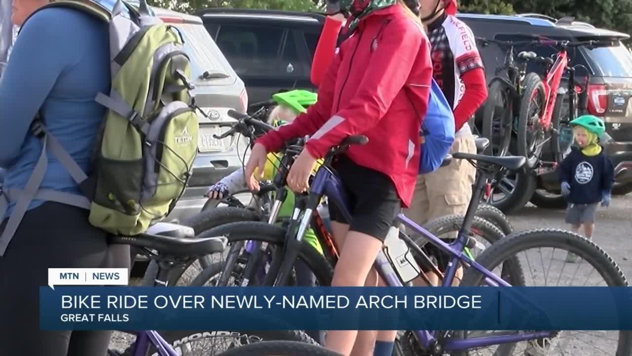 Cyclists cross newly-renamed Great Falls bridge