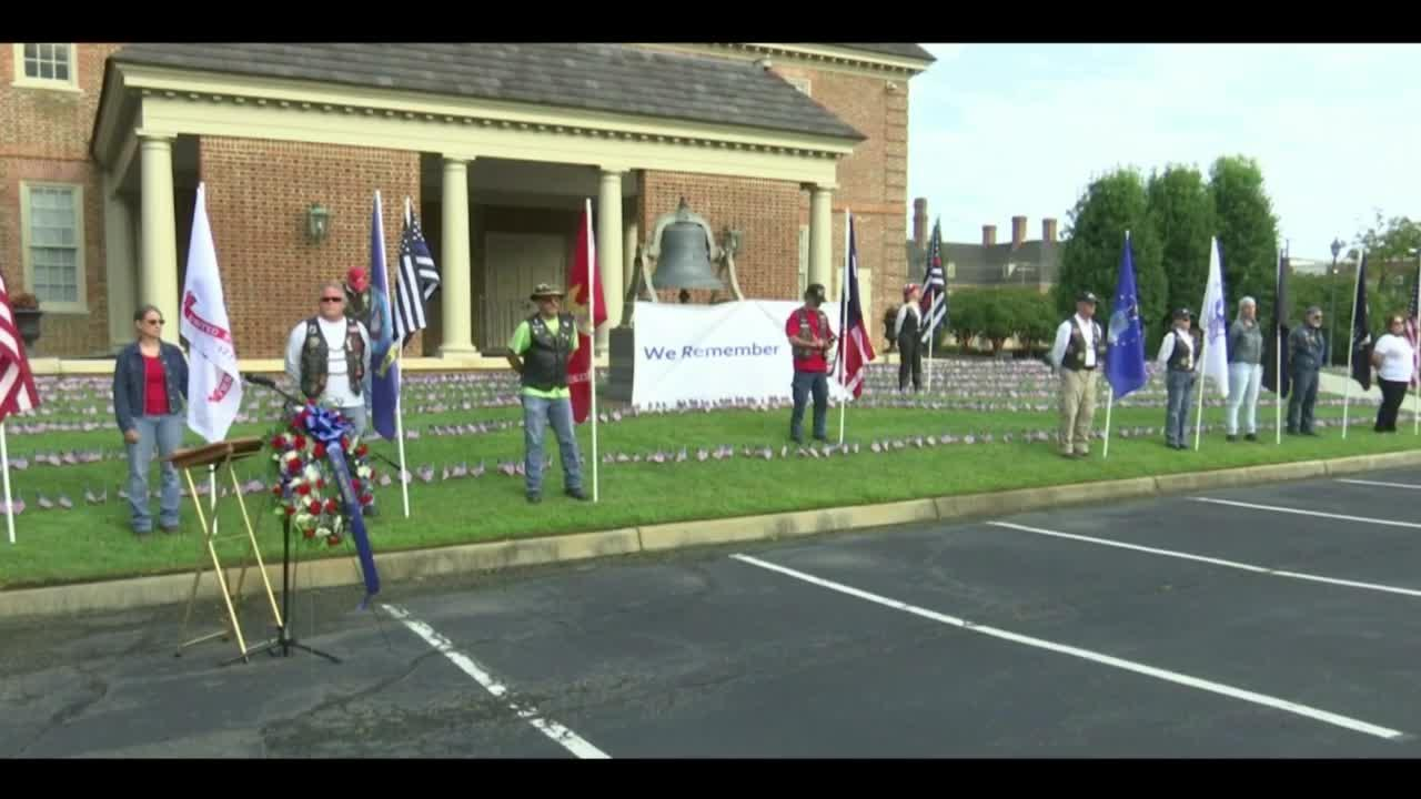 Flag displays at Bliley's Funeral Homes honor 9/11 victims